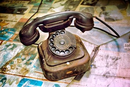 vintage telephone as retro object    photo