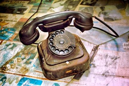 vintage telephone as retro object    photo