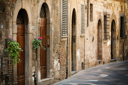 Street with the door in the Italian Tuscany Stock Photo