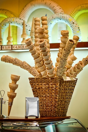 Basket full of empty ice cream cones photo