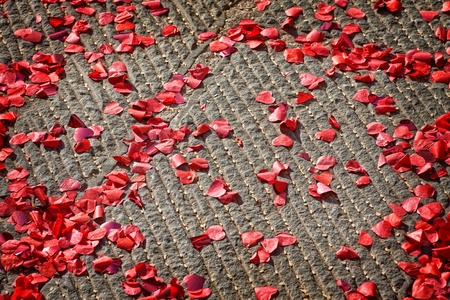 Paper hearts with rice corn on the floor - wedding tradition photo
