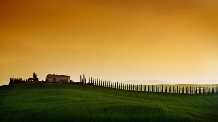Rural countryside landscape in Tuscany region of Italy  Stock Photo