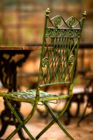 Beautiful old chair in street cafe in Tuscany photo