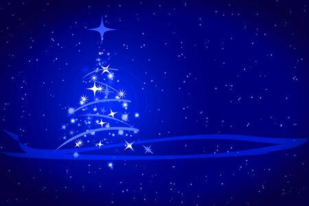 Abstract winter blue background, with stars, snowflakes and Christmas tree, illustration    illustration