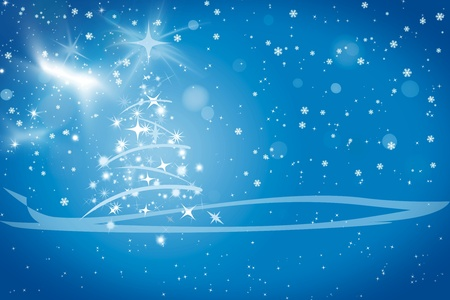 Abstract winter blue background, with stars, snowflakes and Christmas tree, illustration Stock Illustration - 12853692