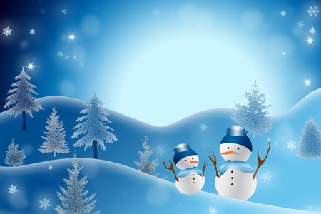 A christmas themed snow scene showing Snowman photo