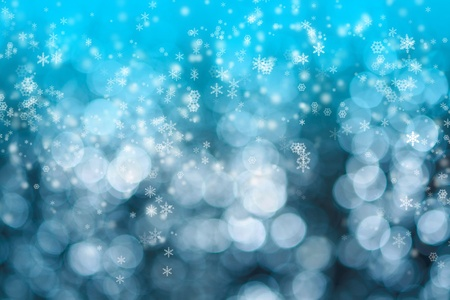Abstract background of christmas blue lights with snow photo
