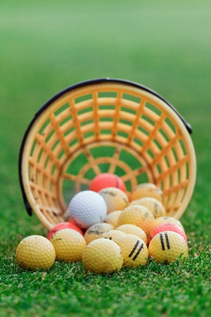 driving range: Golf balls pouring out of basket onto grass