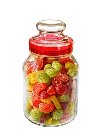 Different colors of confectionary in the glass on white background         photo
