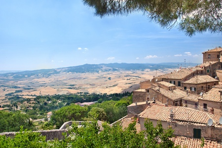 volterra: View of the roofs and  landscape of a small town Volterra in Tuscany, Italy  Stock Photo
