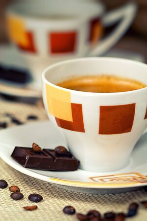 hot temper: Primer plano de una maravillosa taza de café caliente Foto de archivo