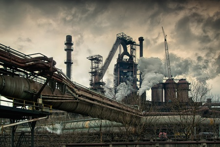 Metallurgical works with smoke. Industrial architecture  Editorial