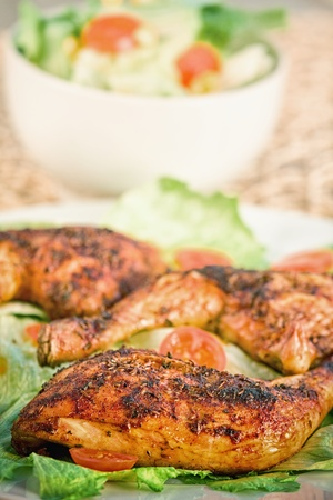 Fried chicken with vegetable salad photo