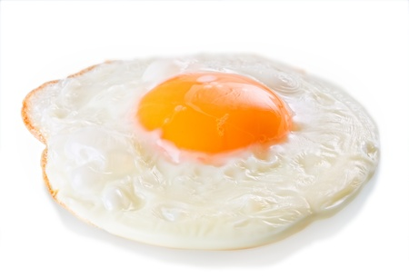 omelette: Fried egg isolated on white
