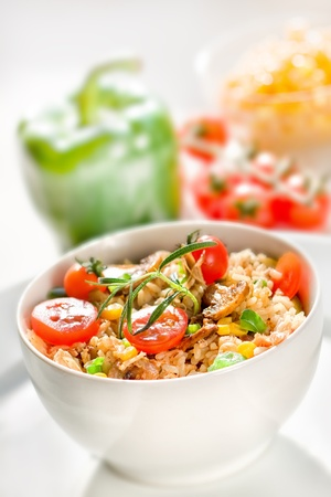 corn salad: Risotto with meat and vegetable
