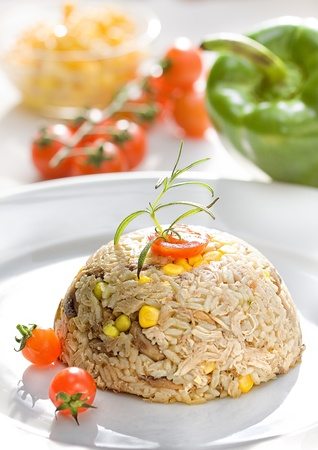 Risotto with meat and vegetable   photo