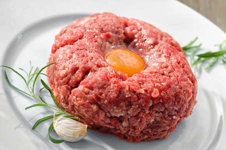 Minced meat prepared for cooking photo