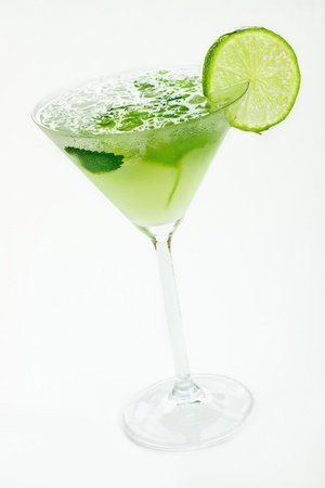 lime slice: Close up margaritas with lime Stock Photo