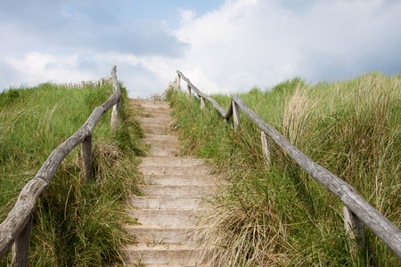 wooden stairs: Outdoor stairs with blue sky Stock Photo