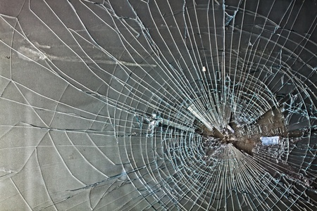 shattered glass: Broken window, background of cracked glass Stock Photo