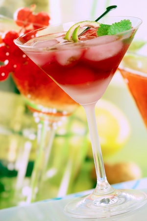 Summer alcoholic recreational drink with mint and lemon photo