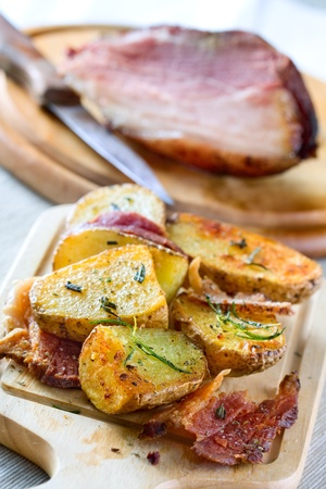 Delicious baked potatoes with pork meat