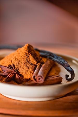 Cinnamon, vanilla bean and star anise photo
