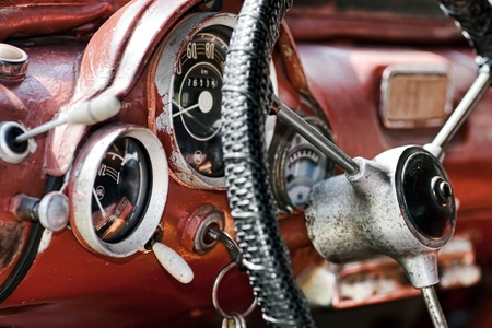 gear handle: View of the interior of an old vintage car