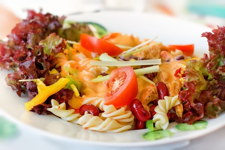 Noodles with chicken and vegetable photo