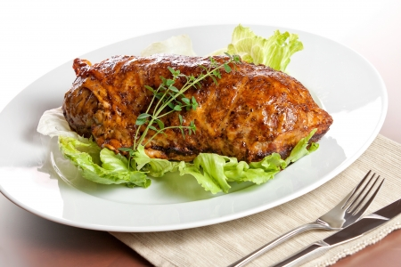 Meatloaf (beef) with salad on white background photo
