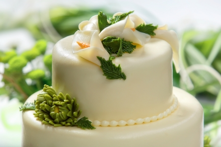 Traditional wedding cake on a white background photo