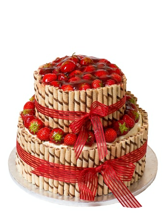 Traditiona strawberry cake on a white background