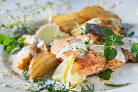 Grilled Atlantic salmon with herb sauce and baked potatoes  Delicious healthy eating Stock Photo - 16159941