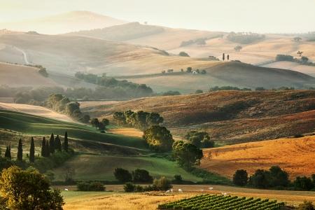 Landelijk platteland landschap in Toscane regio van Italië Stockfoto