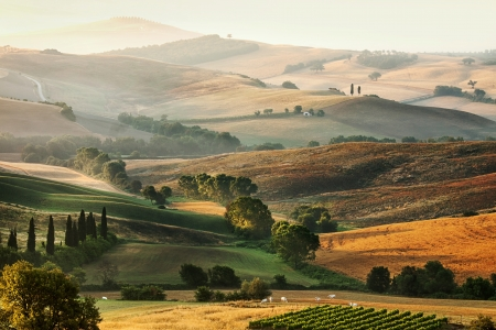 Rural countryside landscape in Tuscany region of Italy photo