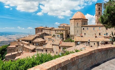 panoramic roof: View of the roofs of a small town  Volterra  ; in Tuscany, Italy