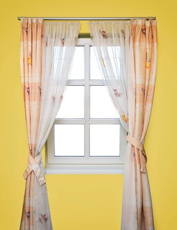 stripped: yellow room with stripped looking through a window