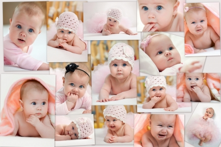 Collage of different photos of baby and his moments  photo