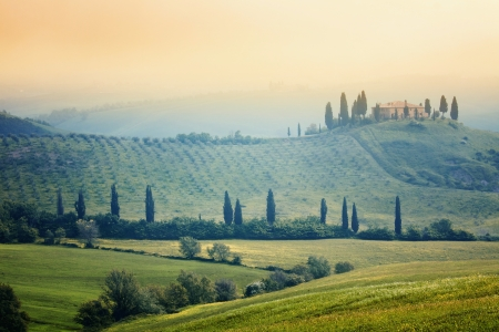 Scenic view of typical Tuscany mist landscape  photo