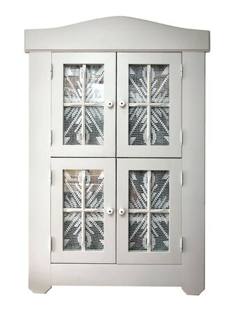 Decorative Front door cabinets with curtains isolated on white background photo