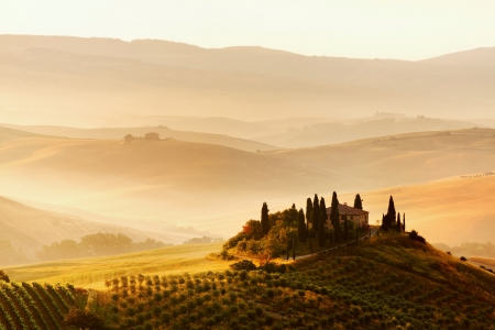 Tuscan  landscape and well-known house - belvedere Stock Photo