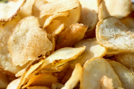 wedges: Closeup view of Potato Chips Stock Photo