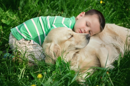 A little boy and his dog
