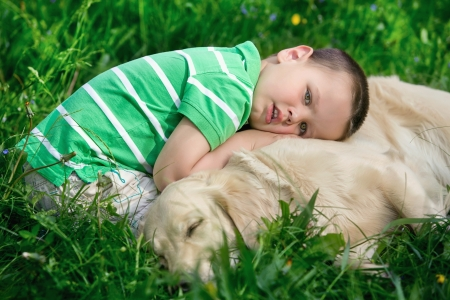 A little boy and his dog photo