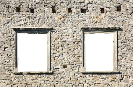 hole in the wall: Window in the ancient stone wall white isolated