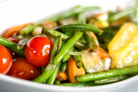 grilled vegetables,(green beans, tomato, onion) photo