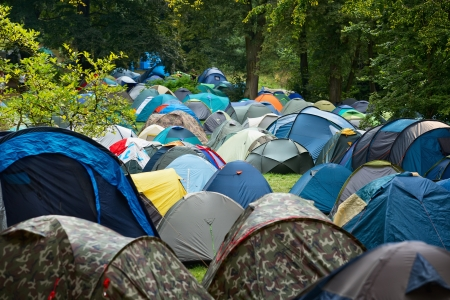 Many tents at a festival campsite