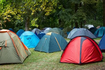 campsite: Many tents at a festival campsite