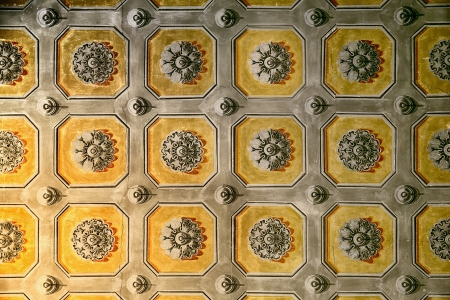 italian fresco: Interior of historical building - hand-painted ceiling