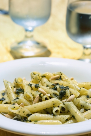 pasta with spinach and pine nuts photo